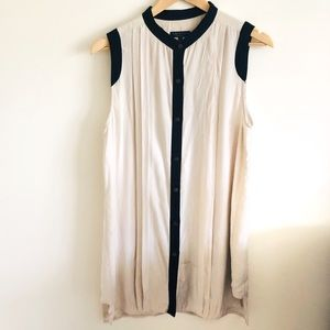 Rag & Bone Silk Button Up Sleeveless Tunic